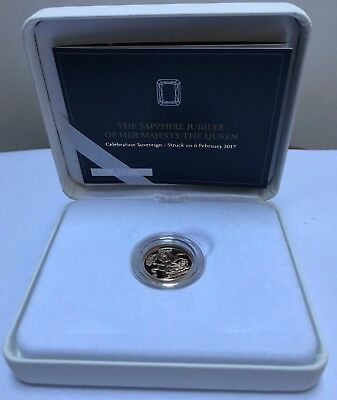 Royal Mint 2017 Queen's Sapphire Jubilee Strike-on-the-Day Gold Sovereign. Box