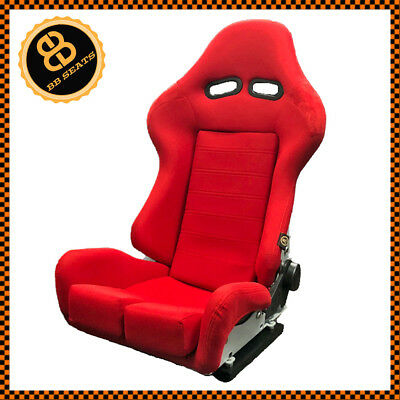 BB7 RECLINING Universal Fibreglass Fabric Racing Bucket Sports Seat RED x1