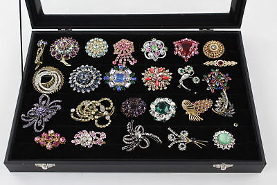 25 x VINTAGE Rhinestone & Crystal STATEMENT BROOCHES Sparkly Stone Set