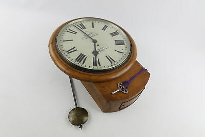 Antique DENT Oak Cased Fusee Movement Wall Clock Key Wind FOR REPAIR