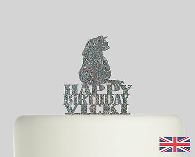 Cat Birthday Personalised Cake topper Acrylic Glitter cake Decoration 617