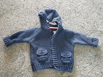 M&s Baby Boys Navy Warm Cuddly Knitted Hooded  Cardigan/jacket  Age 0-3 Months