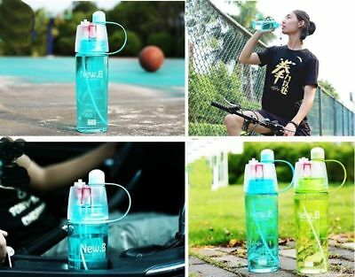 New 400/600ml Outdoor Sports Climbing Cycling Atomizing Mist Spray Water Bottle