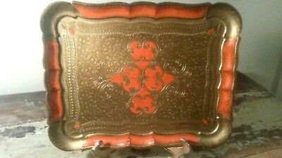 Vintage Italian Florentine Gold Gilt/Burnt OrangeTolewood Tray Hollywood Regency
