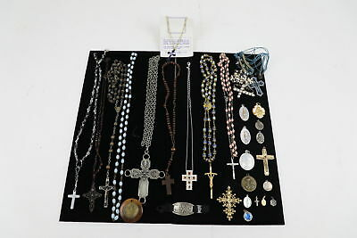 20 x VINTAGE RELIGIOUS JEWELLERY Inc. Rosaries, Crosses, Crucifix, Enamel Charms