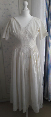 Antique c1840s (?) Victorian hand made and embroidered cotton wedding/day dress