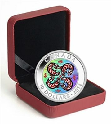 2014 $10 Fine Silver Coin .5 oz First Nations Art: Salmon