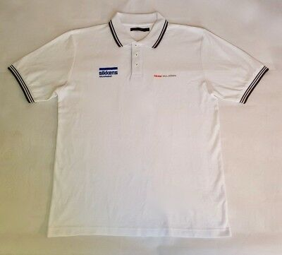 Mens McLaren F1 Official White Polo T-Shirt Shirt New Size L Sikkens Azko Nobel