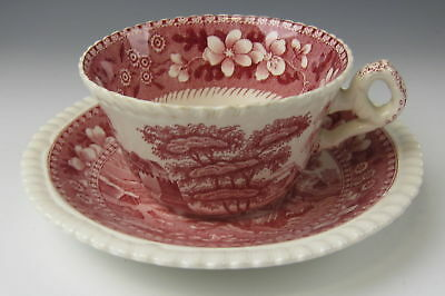 Spode Tower Pink China -Old Backstamp - Flat Cup and Saucer Set - Multiple Avail