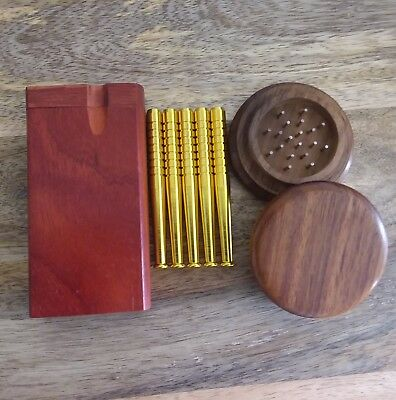 Dark Red Wood Dugout Set with Wooden Grinder, 5x Aluminum One Hitter Pipe Bats