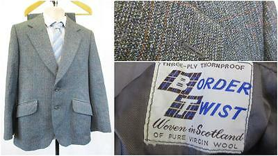 38S W32 Stunning Vintage Dunn & Co Blue Orange Check Thornproof Tweed 2Pce Suit