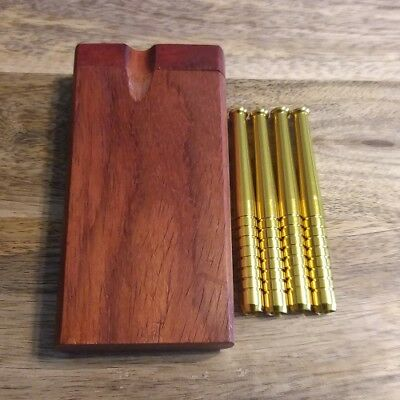 Dark Red Wood Dugout Set with 4x Aluminum Brass Colored One Hitter Pipe Bats