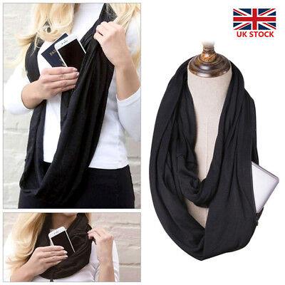 Women Convertible Journey Infinity Scarf With Zipper Pocket Multi-function Scarf