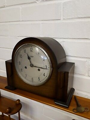 SMITHS ENFIELD ANTIQUE ART DECO CHIMING MANTEL CLOCK,with key needs repairing.