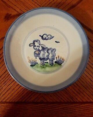 "M.A. Hadley Blue Cow Country Scene 9"" Plate Pottery Bues Grays"