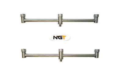 2 x NGT Stainless Steel Buzz Bars 3 ROD 30CM Fixed Carp Fishing Buzzer Bars Pair