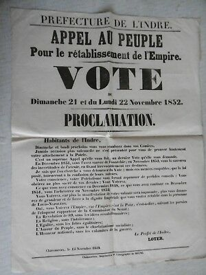 Second Empire - Affiche Placard - 1852