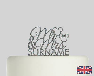 Mickey Mouse Minnie Personalised Cake topper Acrylic Glitter cake Decoration 555
