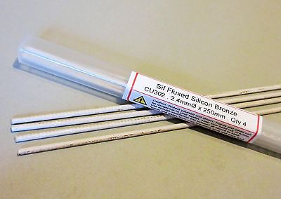 SIF FLUXED BRONZE BRAZING RODS 4 rods GENERAL PURPOSE - JOINS COPPER STEEL BRASS