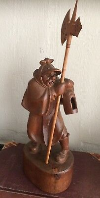 Black Forest Swiss wood carving sculpture night watchman man