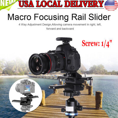 4 Way Macro Focusing Rail Slider With 1/4in Mounting Screw For DSLR Cameras USA