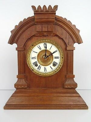 ANSONIA Antique Mantel Mantle Shelf Clock 8 day (Junghans Hermle era)