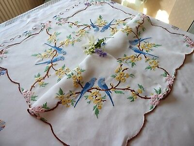Vintage Hand Embroidered  Linen Tablecloth = Sweet Blue Budgies & Blossom
