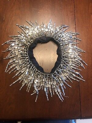 VINTAGE BEADED COLLAR/NECKLACE -  SILVER BEADS & FRINGE- 1920's ART DECO STYLE