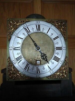 Walnut Grandfather clock, 30h with birdcage movement
