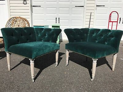 Vintage Green Corner Accent Chairs Pair Accent Chairs