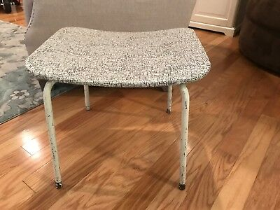 Vintage Mid Century Modern Vanity Curved Stool Bench Chair Salterini Table