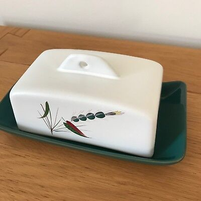 Vintage Denby Bourne Greenwheat Butter Dish, Excellent condition