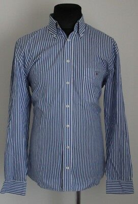 GANT Mens HARVARD POPLIN white blue striped long sleeve shirt size L regular fit