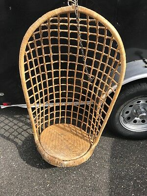 Vintage Rattan Wicker Bamboo Mid Century Egg Swing Hanging Chair