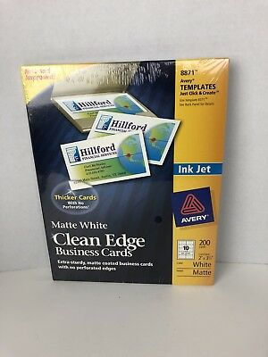 Avery 8871 Clean Edge Matte White Business Cards Ink Jet Extra Sturdy 200 New