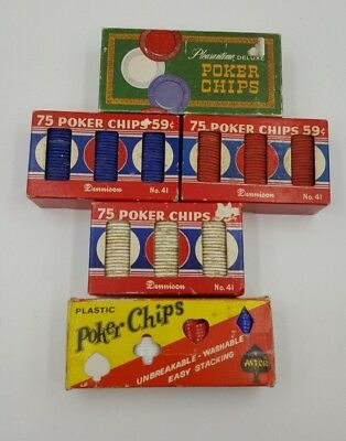 Vintage 300-400 Poker Chips Clay and Plastic Early