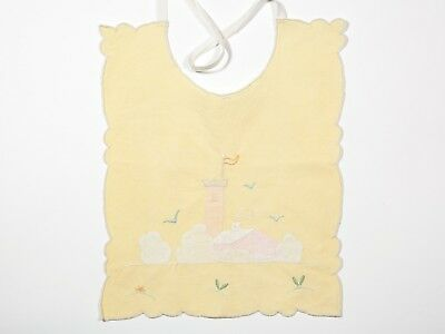 FREE SHIP: Vintage Sweet Hand Stitched Baby Bib - Yellow/Pink Fairy Tale Castle
