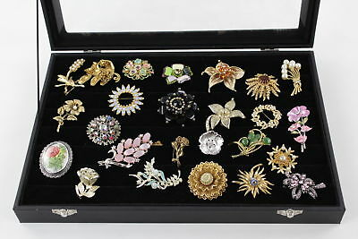 25 x VINTAGE FLORAL BROOCHES inc Sarah Coventry & Hollywood Signed