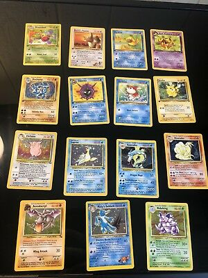 OLD Original Vintage Pokemon 15 Card LOT 8 1st Edition's + Holo + Rare Played