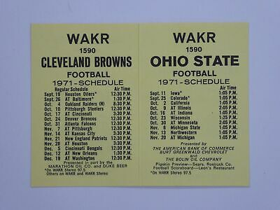Vtg Cleveland Browns Fold Out Pocket Schedule 1971 WAKR 1590 w/ Ohio State
