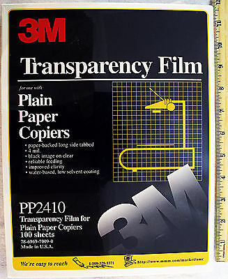 3M Copier Transparency Film (100 Count) PP2410 New Paper-Backed Black on Clear