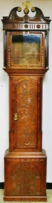 Rare Antique English Highly Carved Solid Oak Grandfather Longcase Clock Case