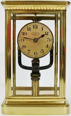 Rare Antique Electro-Magnetic Bulle Clockette Brass 4 Glass 800 Day Mantel Clock