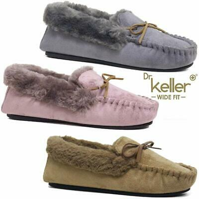 Ladies Wide Fit Slippers New Womens Faux Suede Warm Fur Winter Moccasin Shoes
