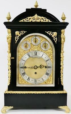 Rare Antique English Ebony & Bronze Triple Fusee Musical 4/ 8 Bell Bracket Clock
