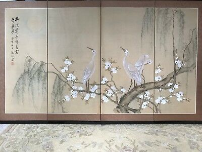 "Vintage Japanese Byobu 4 Panel Hand Painted Folding Screen - Signed - 36"" x 56"""