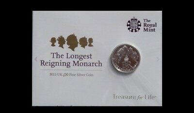2015 UK Unopened £20 Fine Silver Coin Royal Mint Longest Reigning Monarch Queen