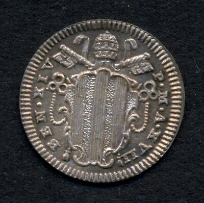 Vatican  Papal States    1/2 Grosso  Year 1757  Silver   Pope Benedicto XIV