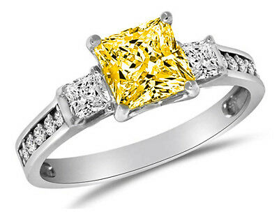 2.50 Ct Canary Princess Engagement Wedding 3-Stone Ring Real 14K White Gold