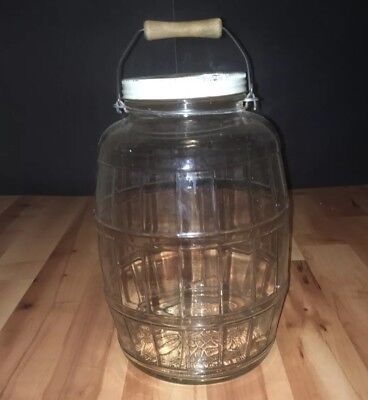 HTF LARGE VTG 1959 Vintage Illinois Glass Barrel Pickle Jar Wood Bail Handle MID